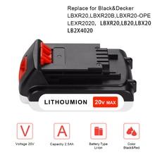 20V 2500mAh Li-ion Rechargeable Battery Power Tool Replacement Battery for BLACK & DECKER LB20 LBX20 LBXR20 LBX4020 Cordless 20v 2500mah li ion rechargeable battery power tool replacement battery for black
