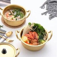 Шикарный золотой суповый горшок из алюминиевого сплава с антипригарным покрытием, кастрюля, кастрюля для салата, миска для лапши, кухонные ...