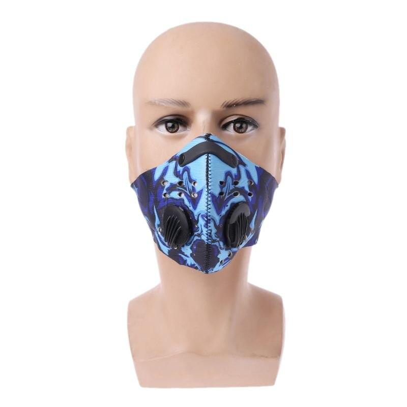 Унисекс унисекс Велоспорт Анти-пыль резиновая PM2.5 лицо рот маска цветной граффити печатных Хип-хоп активированный уголь фильтры с