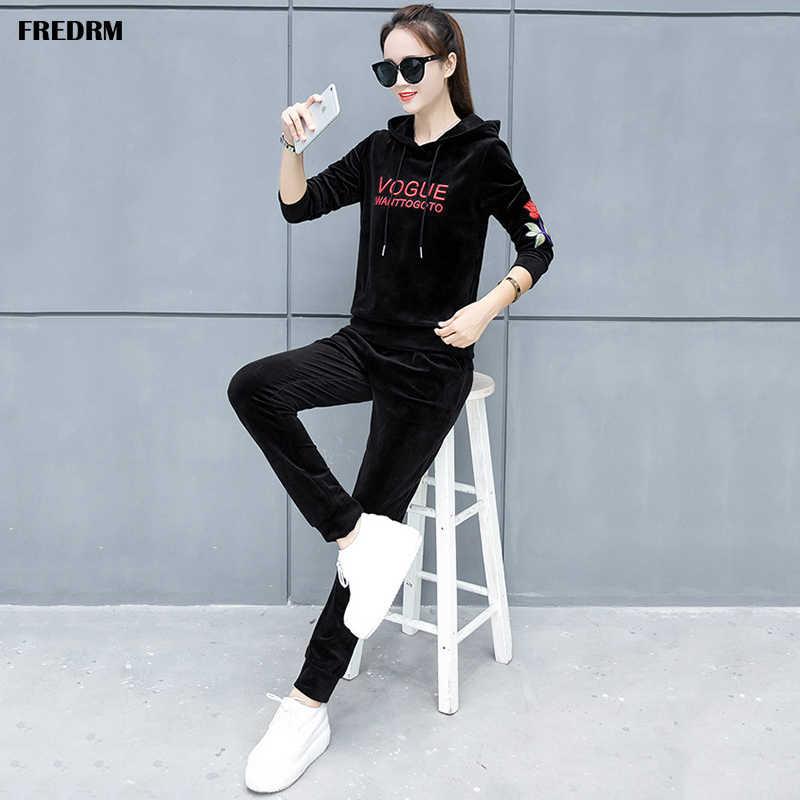 Fredrm 女性セットパーカーとパンツ女性春の新 2020 スーツプラスサイズ 6XL ショートジャケット長袖弾性カフ脚部開口部
