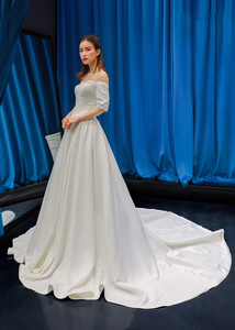 Image 4 - J66836 jancember cheap wedding dress boho chic strapless off shoulder half sleeve satin dress train свадебное платье с рукавами