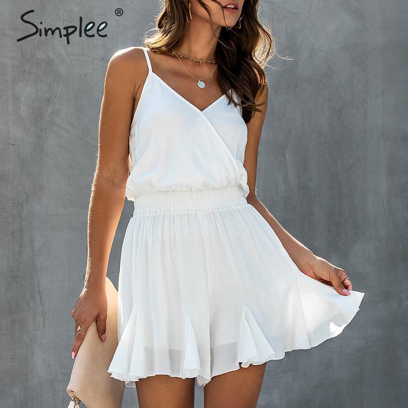 Simplee Elegant Spaghetti Straps Women Playsuit Elastic High Waist Female Chiffon Jumpsuit Romper Casual Ruffled Summer Overalls