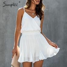 Simplee Elegant spaghettibandjes vrouwen playsuit Elastische hoge taille vrouwelijke chiffon jumpsuit romper Casual verstoorde zomer overalls