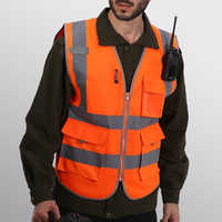 WorkWear Uniforms 4 Pockets Class 2 High Visibility Zipper Front Safety Vest With Reflective Strips Washable Comfortable L-2XL
