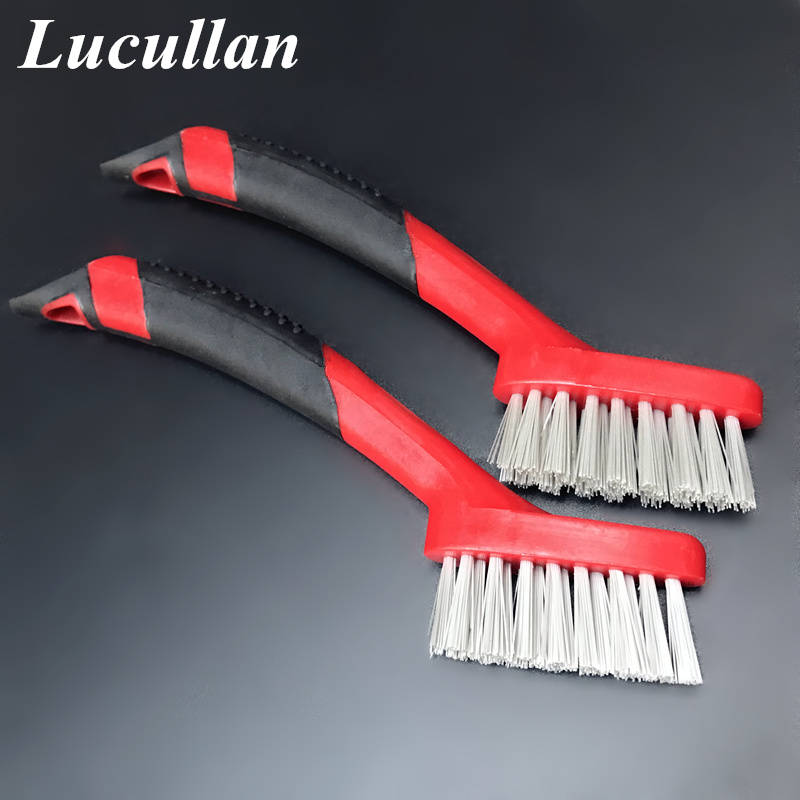 Lucullan Ergonomically Non Slip Rubber Grip Auto Detail Brushes Trim,Leather,Groove Gap,Interior Cleaning Tools
