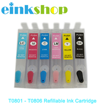 T0801 - T0806 Refillable Ink Cartridge For Epson P50 RX660 R265 R360 RX560 R285 RX585 RX685 PX700 PX710 PX810 Printer