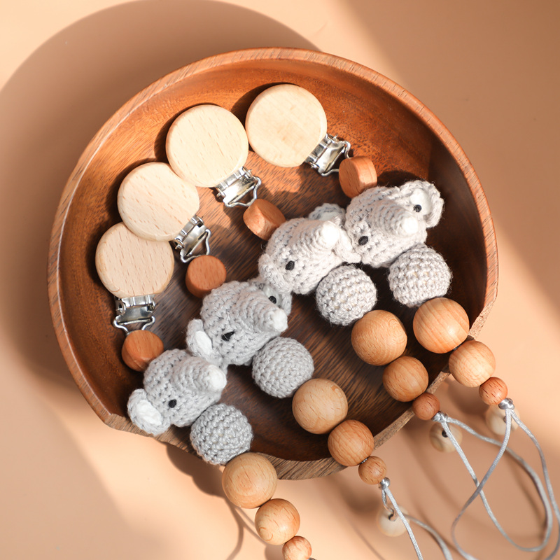 Amigurumi Elephant Pacifier Clips Dummy Holder 1pc Knitted Wooden Clips Nipple Baby Feeding Cartoon Pacifier Clips Let's Make