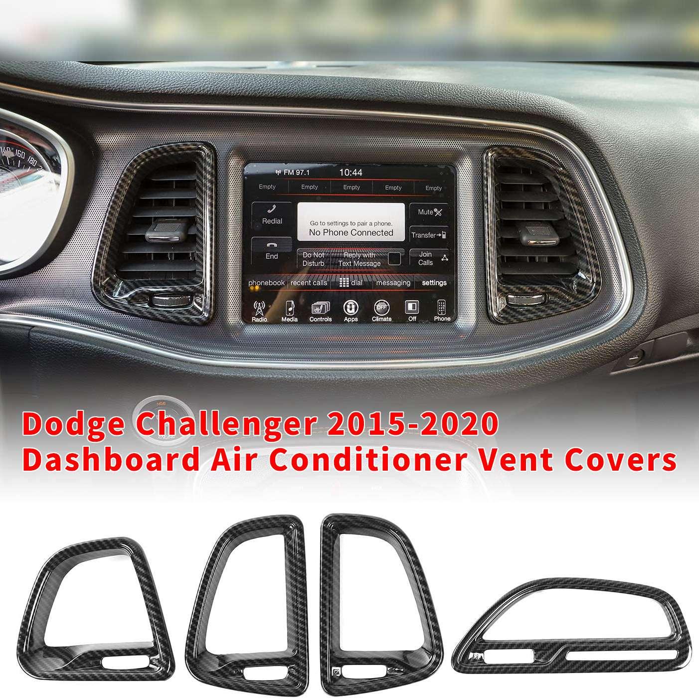 Para consola central Challenger, salida de aire acondicionado, Dodge Challenger moldura de ventilación para 2015-2020 (grano de fibra de carbono, 4 Uds.)