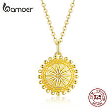 bamoer Sun Coin Pendant Neckalce for Women Gold Color Genuine 925 Sterling Silver Chain Necklaces Collier Fashion Jewelry SCN353(China)