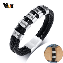 Vnox Customize Family BFF Names Men Bracelet Layered Black Genuine Leather Bangle Casual Gents Jewelry Meaningful Fraternal Gift