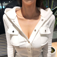 2019 autumn new hooded women sweatshirts white solid button knitted v neck sexy slim lady hoodies outwear coat tops
