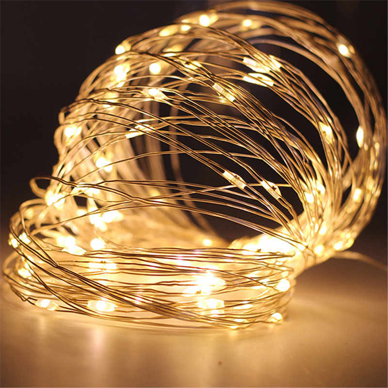 1M 2M 3M 5M LED String Lights Zilveren Draad Kerstverlichting Garland Kerstboom Kerst Outdoor wedding Party Home Decor USB Verlichting
