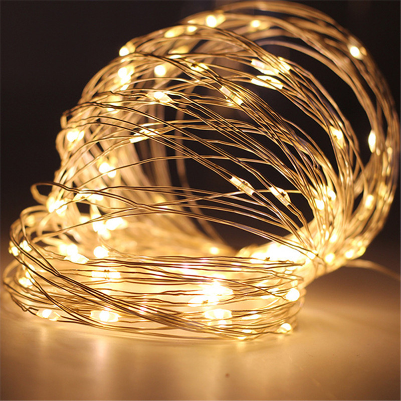 1M 2M 3M 5M LED String <font><b>Lights</b></font> Silver Wire Fairy <font><b>Lights</b></font> Garland Xmas Tree Christmas Outdoor Wedding Party <font><b>Home</b></font> <font><b>Decor</b></font> USB Lighting image
