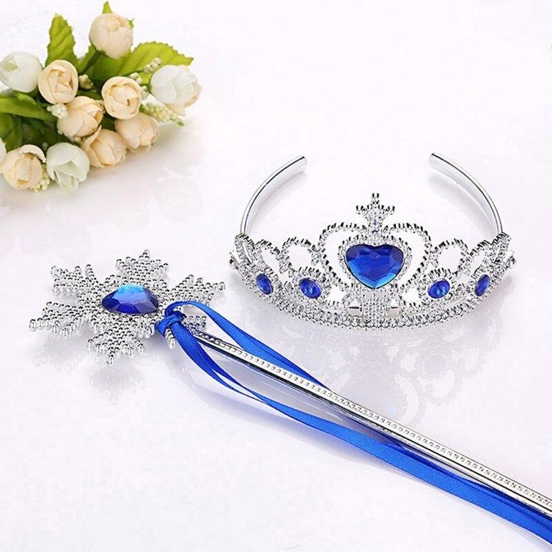 «Холодное сердце»; Романтичное платье принцессы фей аксессуары комплект Корона и лента на палочке для Gift-MG69