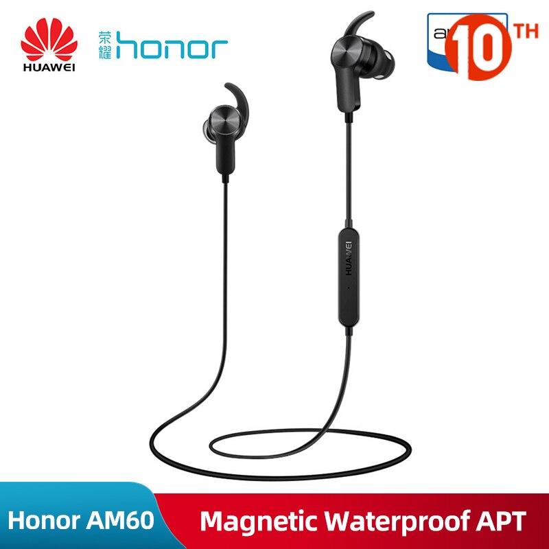 Original Huawei Honor AM60 Wireless Bluetooth Sport Earphone Magentic Waterproof Apt x Stereo Headset With Microphone For Xiaomi|Bluetooth Earphones & Headphones| |  - title=