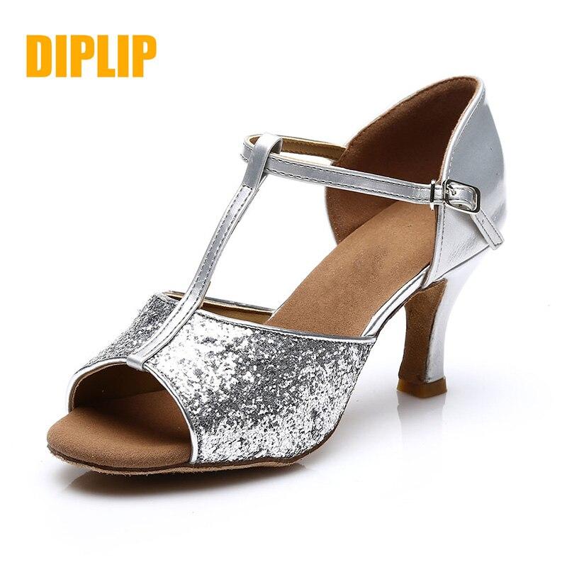 DIPLIP Salsa Latin Dance Shoes For Women Girls Tango Ballroom Dance High Heels Soft Dancing Shoes 5/7cm Ballroom Dance Sandals