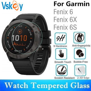 Image 1 - VSKEY 100pcs Tempered Glass for Garmin Fenix 6 Round Smart Watch Screen Protector Garmin Fenix 6s 6X Protective Film