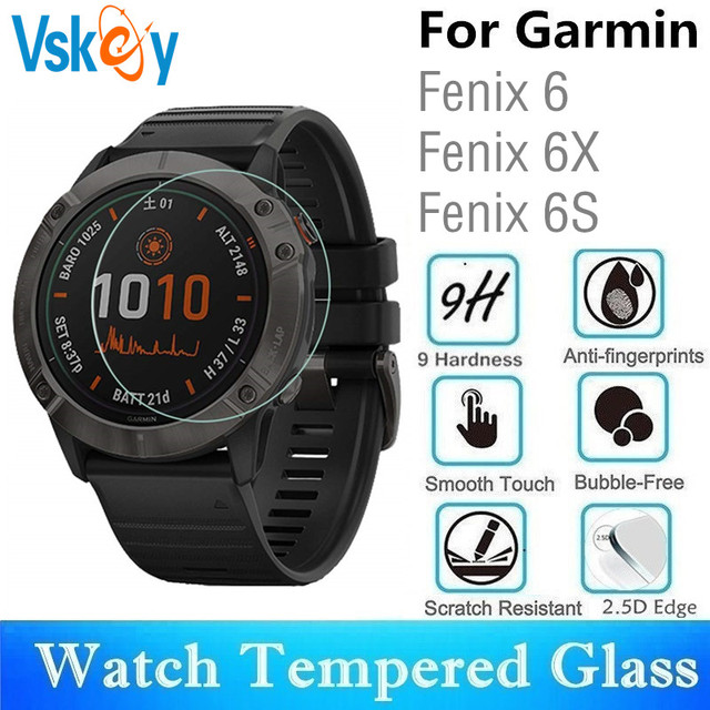 VSKEY 100pcs Tempered Glass for Garmin Fenix 6 Round Smart Watch Screen Protector Garmin Fenix 6s 6X Protective Film