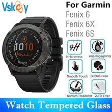Vskey vidro temperado para relógio inteligente, 100 peças para relógio inteligente redondo garmin fenix 6s 6x protetor de tela filme filme