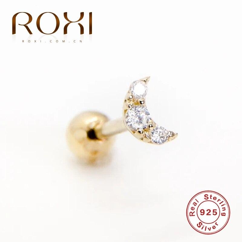 ROXI Small Crown Moon Star Lightning Constellation Stud Earrings for Women 925 Sterling Silver PiercingEarring Kolczyki Damskie