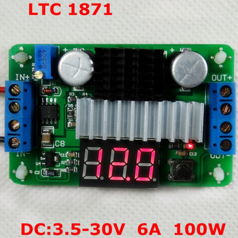 LTC1871 DC Power Source Step Up Converter 100W 6A Adjustable Boost Board 3.5-30V D08A