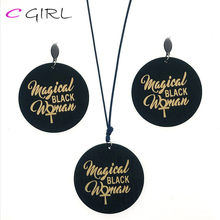 C GIRL Cross Pendant Necklace Black Women's Vintage Stud Earring Fashion Jewellery Sets Female Accessories Wholesale(China)