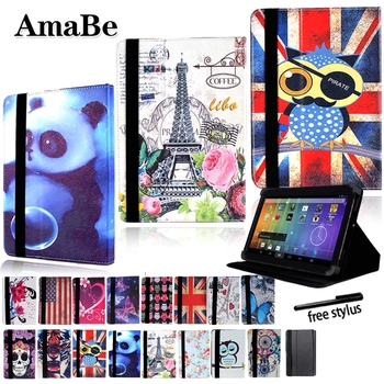 Drop resistance Print Leather Tablet Stand Cover Case for 8 inch 10.1 inch Sony Xperia Z3 Z4 Tablet + Stylus Protective Shell image