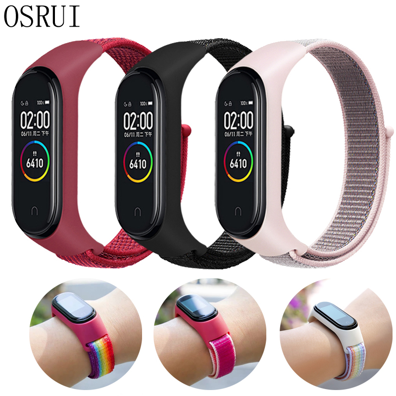 Sport Loop Strap For Xiaomi Mi Band 4 3 Strap Nylon Wristband Mi Band 4 3 Bracelet Replaceable Correa Xiaomi Mi Band 4 3 Strap