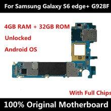 Placa base Original desbloqueada para Samsung Galaxy S6 edge plus G928F, con Chips IMEI, sistema operativo Android