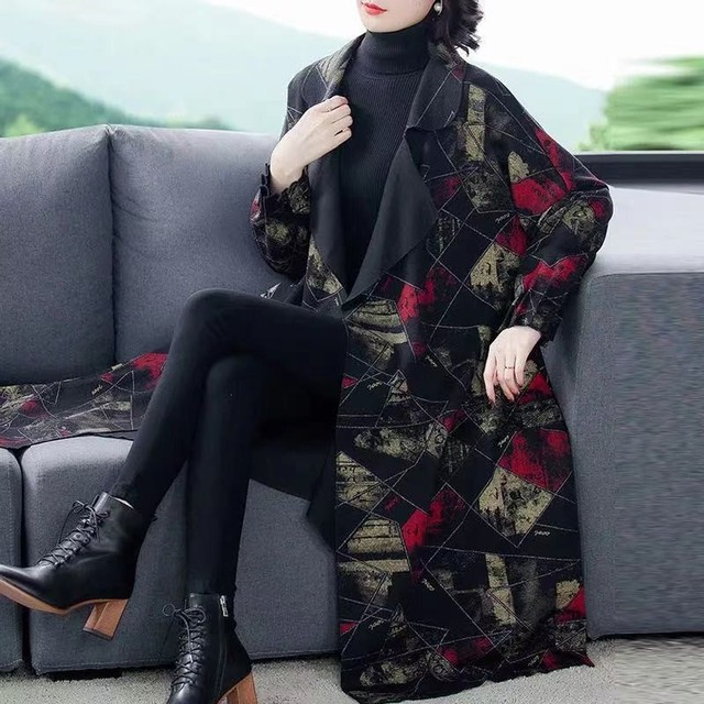 High Quality Fashion  Autumn Winter Women's  Woolen Long Coats Loose Middle Aged Mother Oversized Plaid Cape Drop-shoulder Wool 2