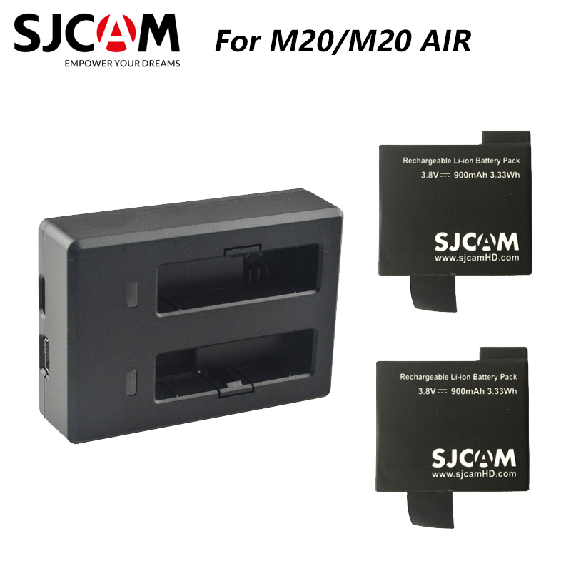 2PCS SJCAM M20 Batteries   Dual battery Charger For SJ CAM M20 sports Action Camera Accessories Original SJCAM brand battery