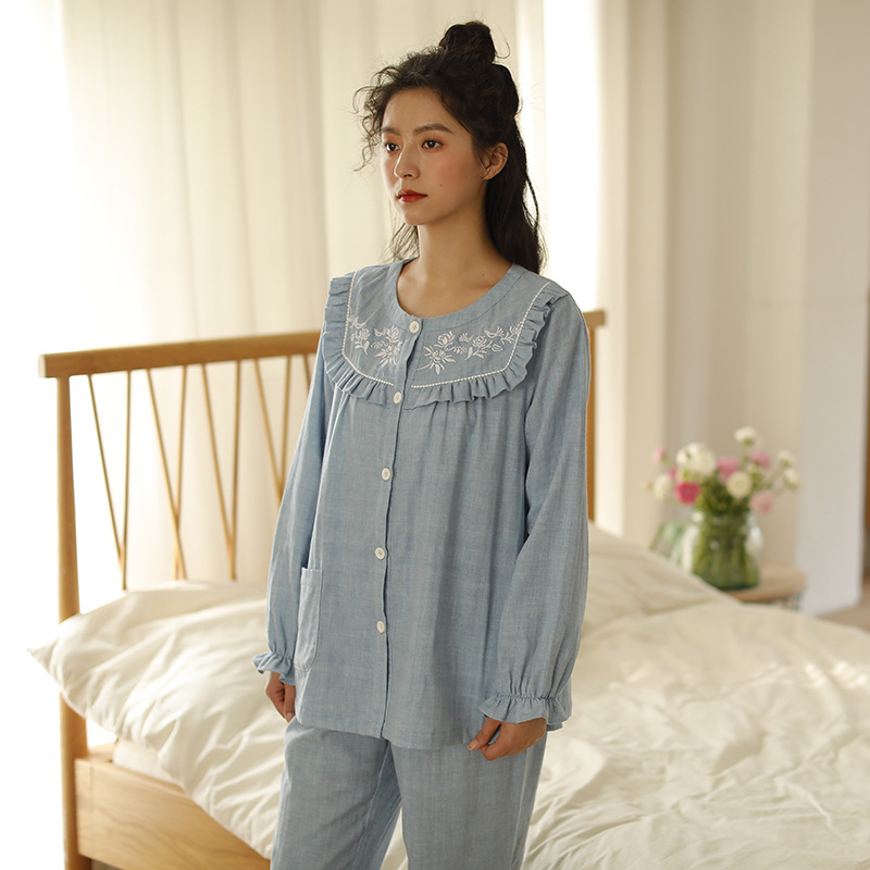 New Products Pajamas Women's Autumn Pure Cotton Long-sleeve Suit 2019 Japanese-style Household 100% Cotton Gauze Crew Neck Home