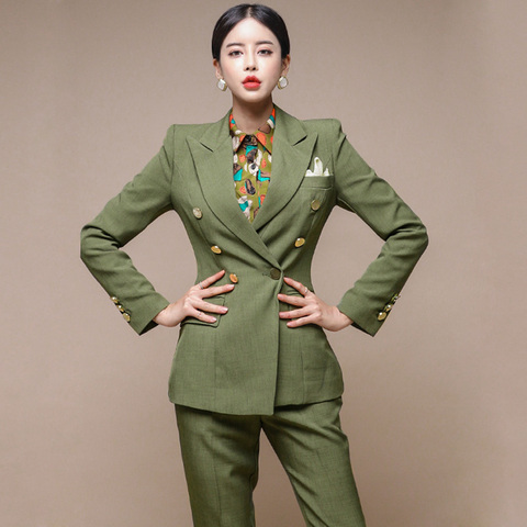 New Runway Fashion 2 Piece set women business work wearing pant suits Office Lady set suits Lahore