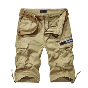 Marca de verano Pantalones cortos Cargo hombres Casual Shorts sueltos militares hombres pantalones cortos Multi-bolsillos recto pantalón Corto Hombre sin cinturón