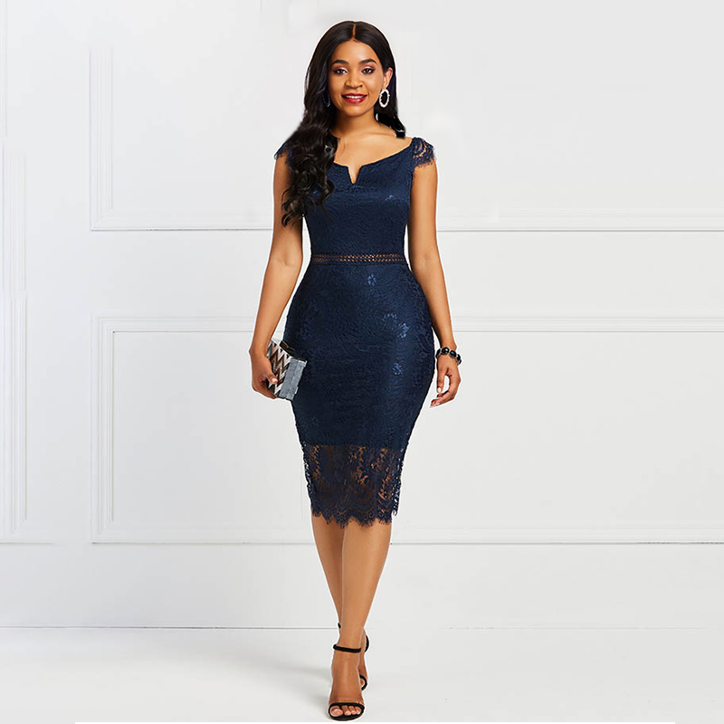 Sisjuly Bodycon Women <font><b>Dress</b></font> <font><b>Lace</b></font> Slash Neck <font><b>Hollow</b></font> <font><b>Backless</b></font> <font><b>Sexy</b></font> Elegant OL Party Chic Summer Patchwork Sheath Retro <font><b>Dresses</b></font> image