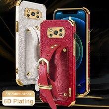 Crocodile Pattern Leather Case For Xiaomi Poco X3 Pro F3 Wristband Stand Cover Xiomi Mi 10T Lite 10 11 Ultra Plating Frame Coque