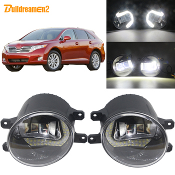 Buildreamen2 2 Pieces Car LED Front Fog Light + Daytime Running Light White 3000LM 12V For Toyota Venza 2009 2010 2011 2012