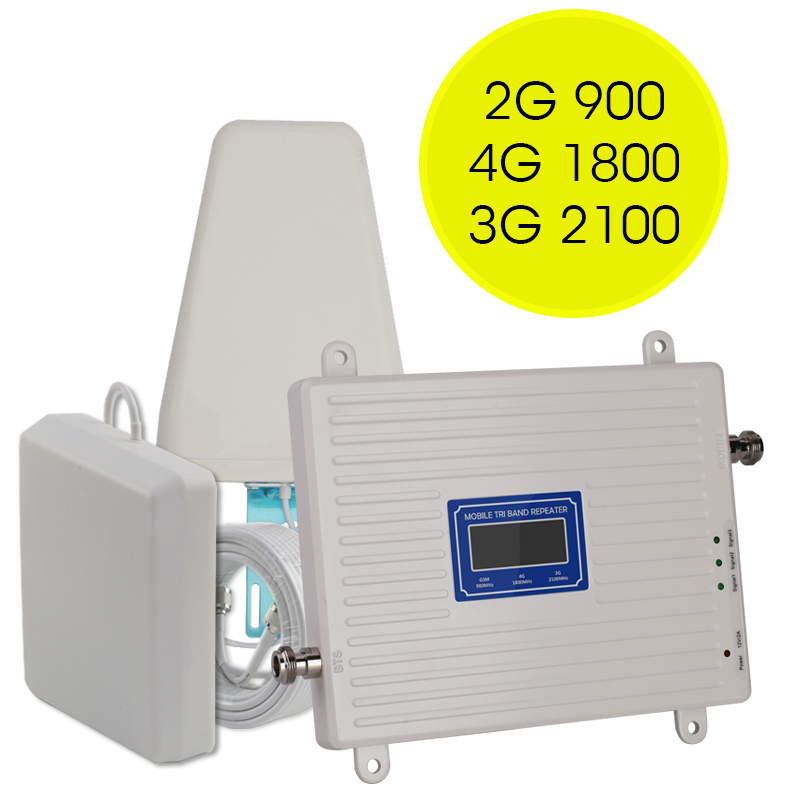 GSM 2g 3g 4g Amplifier 70dB GSM WCDMA DCS LTE Tri Band Mobile Phone Signal Booster 2g 3g 4g Signal Repeater LTE Cellualr Antenna
