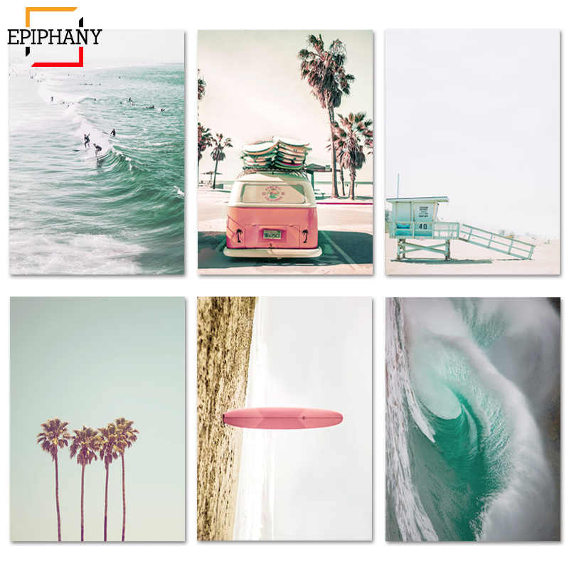 Large Beach Wall Art Print California Surf Art Surfboard Palm Tree Canvas Poster Paintings for Living Room Wall Nordic Pictures