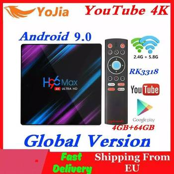 H96 MAX Dispositivo de TV inteligente Android 9,0 RK3318 4GB RAM 64GB ROM 32G 4K WiFi reproductor de medios de comunicación de voz de Google Netflix, Youtube 1G8G Set Top Box