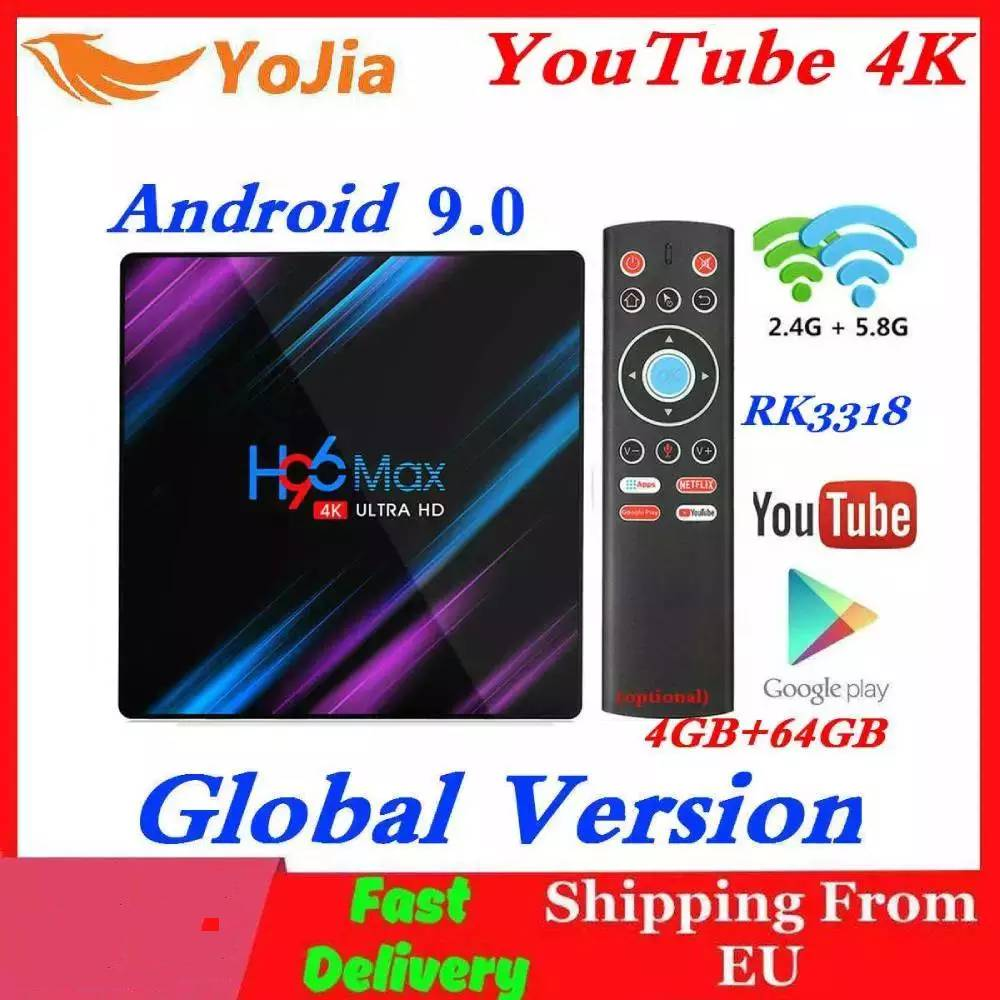 H96 MAX Smart TV Box Android 9.0 RK3318 4GB RAM 64GB ROM 32G 4K WiFi Media Player Google Voice Netflix Youtube 1G8G Set Top BOX