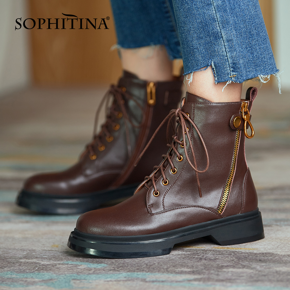 Купить женские ботильоны на молнии sophitina классические ботинки из