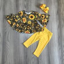 Outono/inverno do bebê meninas crianças roupas mostarda leopardo girassol vestido de algodão top de manga longa outfits ruffle boutique jogo arco