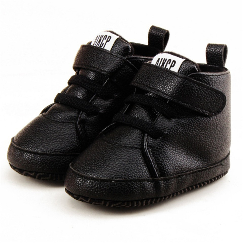 New arrival black newborn shoes first walker toddler pu leather autumn spring baby boys girls soft sole kids pu leather sneaker for 0-18 month