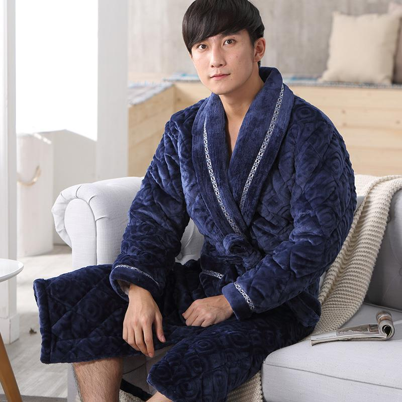 New Plus Thick Winter Robe Male Luxury Quilted Cotton Embossed Flannel Warm String Bathrobe Men's Home Dressing Gown