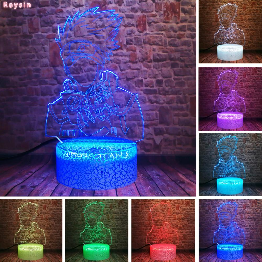 Anime Naruto Hatake Kakashi 3D Stereo Vision LED Night Light Home Office Decor Touch 7 Color Acrylic USB/Battery Bedside Lamp