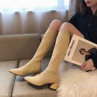 Black Long Stretch Sock Boots Woman 2019 Winter High Heel Knee High Boots Women Slim Pointed Toe Ladies Booties