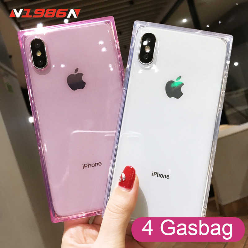 N1986N Telefoon Case Voor iPhone 6 6s 7 8 Plus X XR XS Max Mode Vierkant Ontwerp Schokbestendig Clear soft TPU Voor iPhone X Telefoon Case