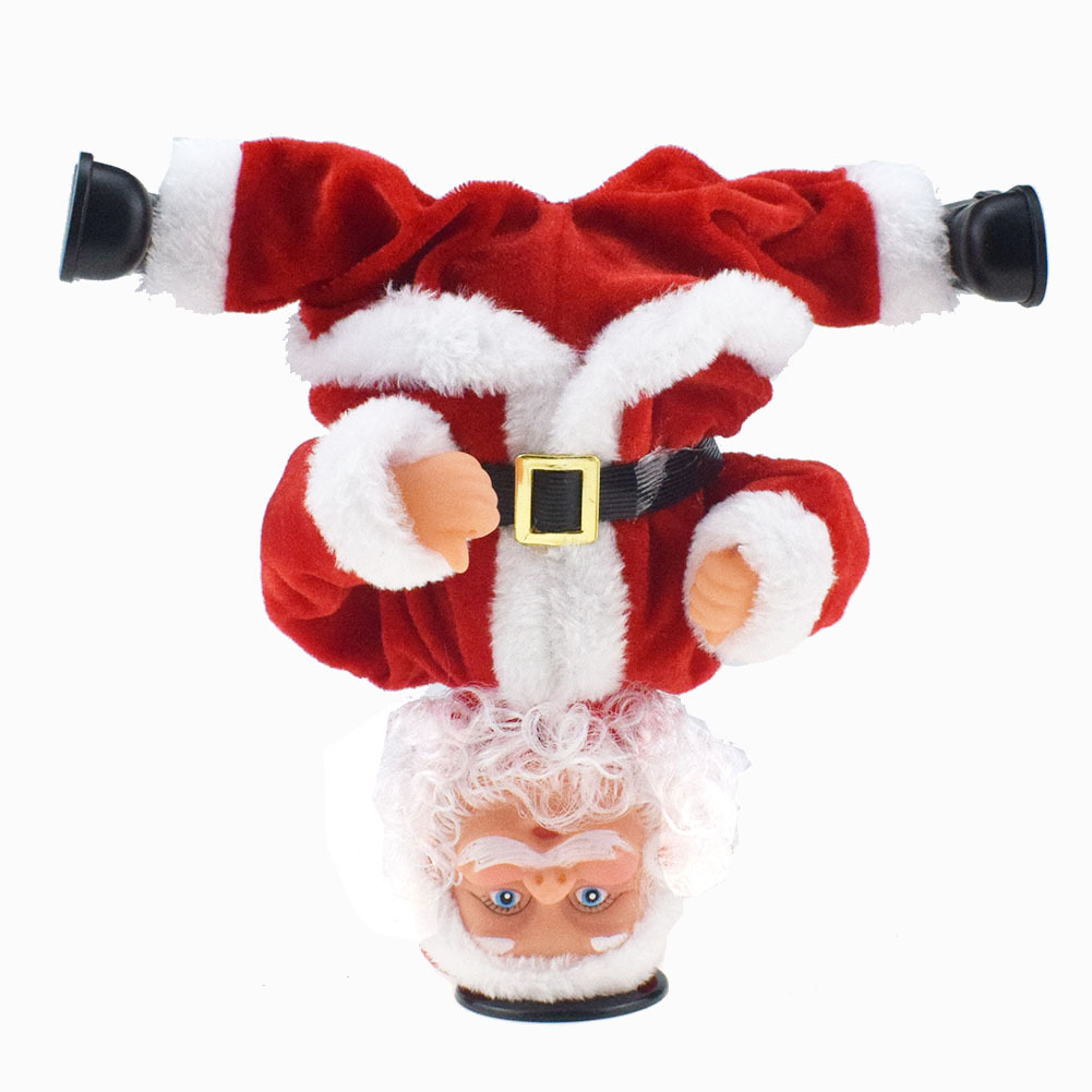 Novelty Funny Inverted Rotating Stunt Electric Music Christmas Old Man Doll Toy Christmas Gift