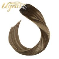 Ugeat Clip Hair Extensions Natural Hair Real Human Hair 14 24inch 120g/7Pcs Machine Remy Hair Balayage Clip ins
